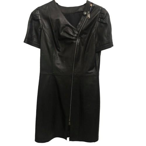 Γυναικείο Δερμάτινο Φόρεμα Dress Μαύρο