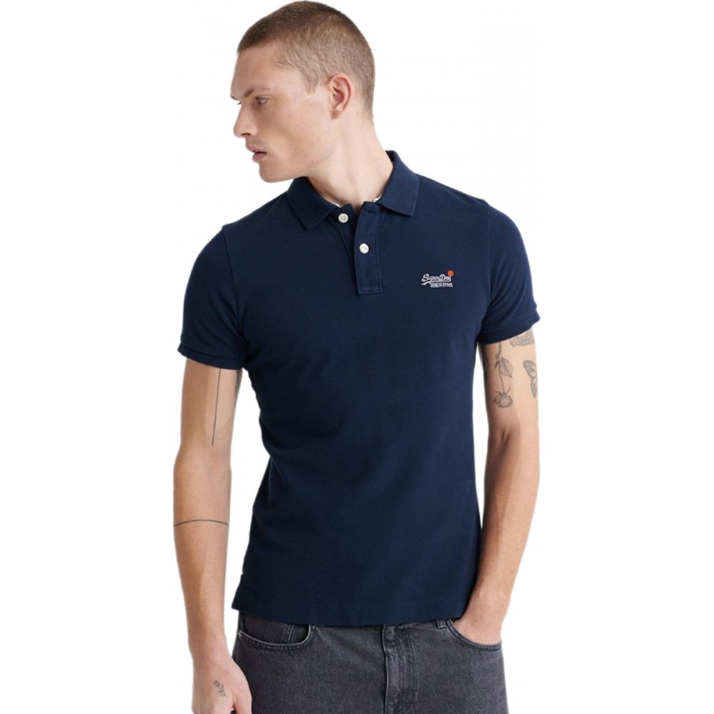 CLASSIC PIQUE S/S POLO ΜΠΛΟΥΖΑ ΑΝΔΡΙΚΟ - M1110031A -ECLIPSE NAVY SUPERDRY