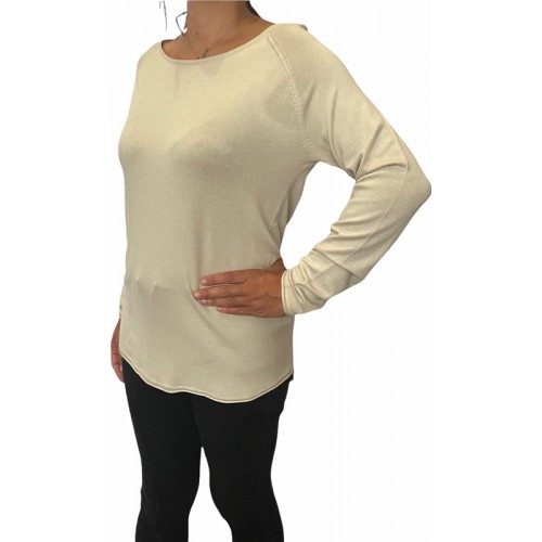 MILA LACY L/S LONG PULLOVER KNT 15109964 STONE ΓΥΝΑΙΚΕΙΟ ΜΑΚΡΥ ΠΟΥΛΟΒΕΡ STONE ONLY
