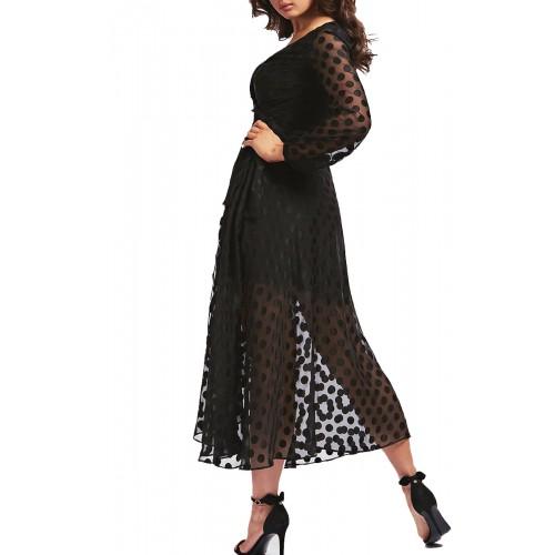 BERTHA DRESS - CLIPPED DOTS ΦΟΡΕΜΑ ΓΥΝΑΙΚΕΙΟ - W0YK1AWD3C0 - GUESS BLACK
