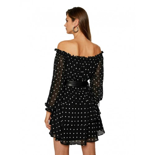 HANNAH DRESS - ECO DRAPY GGT ΦΟΡΕΜΑ ΓΥΝΑΙΚΕΙΟ - W0YK95W8SL2 -BLACK AND WHITE SMALL GUESS