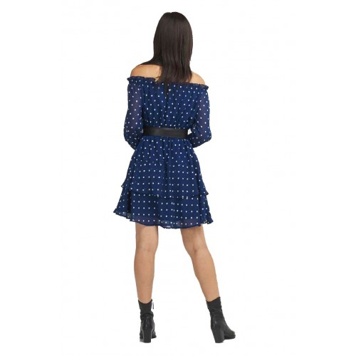 HANNAH DRESS - ECO DRAPY GGT ΦΟΡΕΜΑ ΓΥΝΑΙΚΕΙΟ - W0YK95W8SL2 -BLUE AND WHITE SMALL GUESS