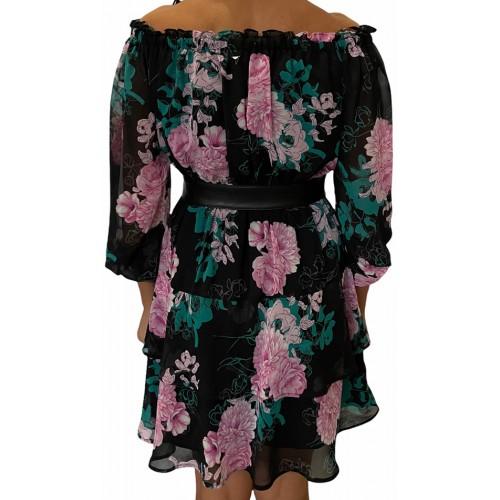 HANNAH DRESS - ECO DRAPY GGT ΦΟΡΕΜΑ ΓΥΝΑΙΚΕΙΟ - W0YK95W8SL2 -PEONY FLOWERS BLACK GUESS