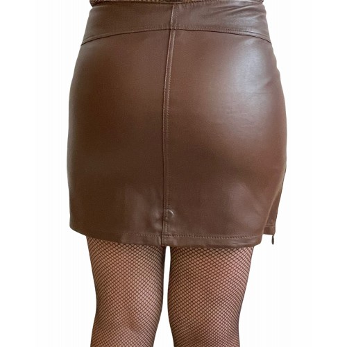 MARKOS LEATHER 5108 WOMAN LEATHER SKIRT BROWN